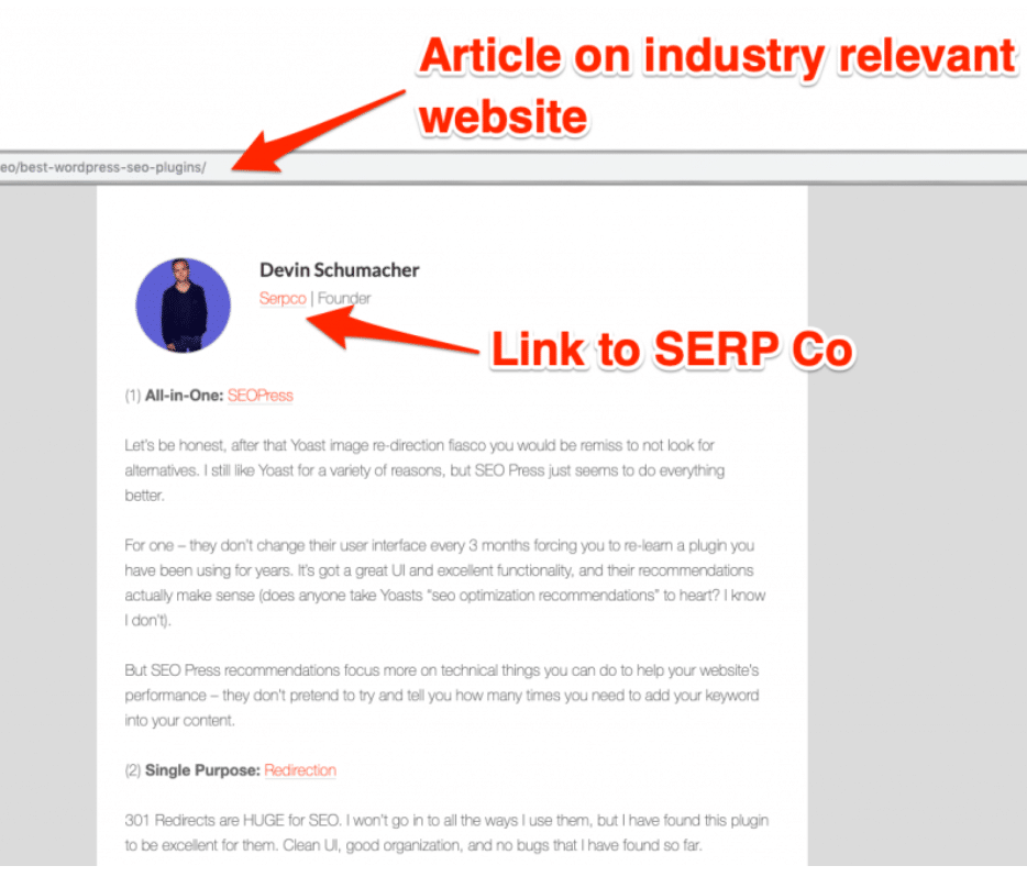 Screenshot showing an example of guest posting and pr links to websites